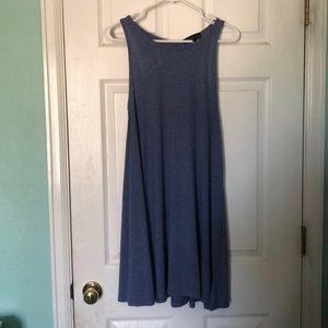 Blue Ribbed Halter T-shirt Dress